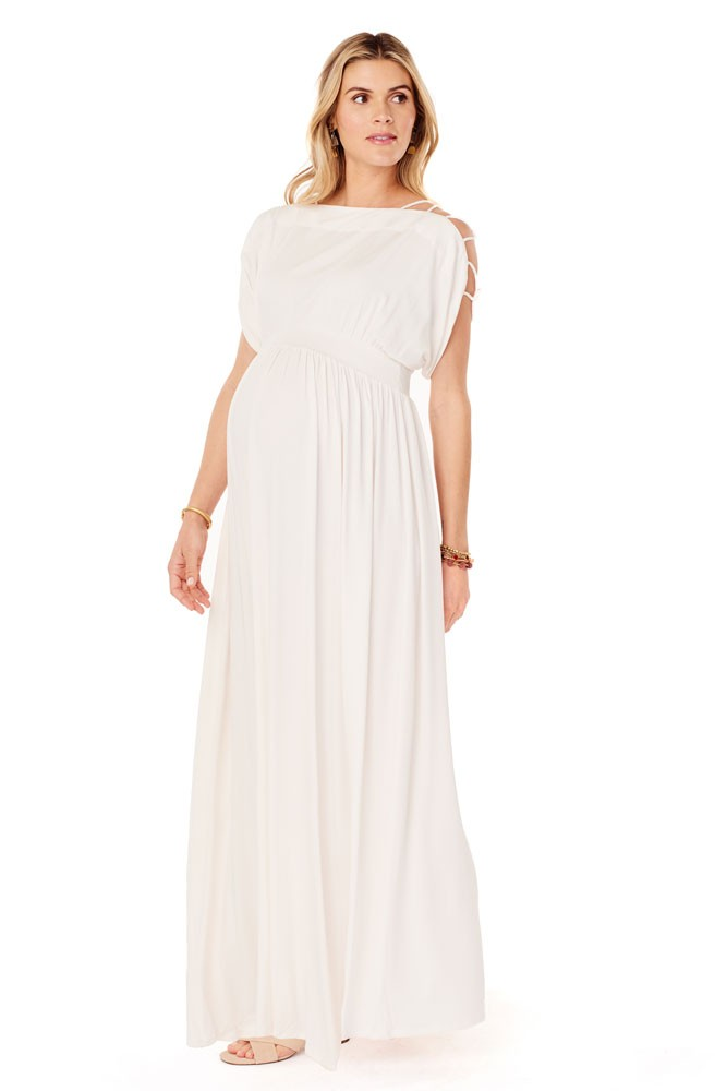 39dfc1a6fa6c Ingrid & Isabel Smocked Empire Maternity Maxi Dress in Ivory