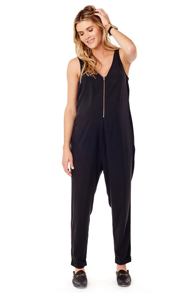 Ingrid & Isabel Zip Front Maternity & Nursing Jumpsuit (Black)