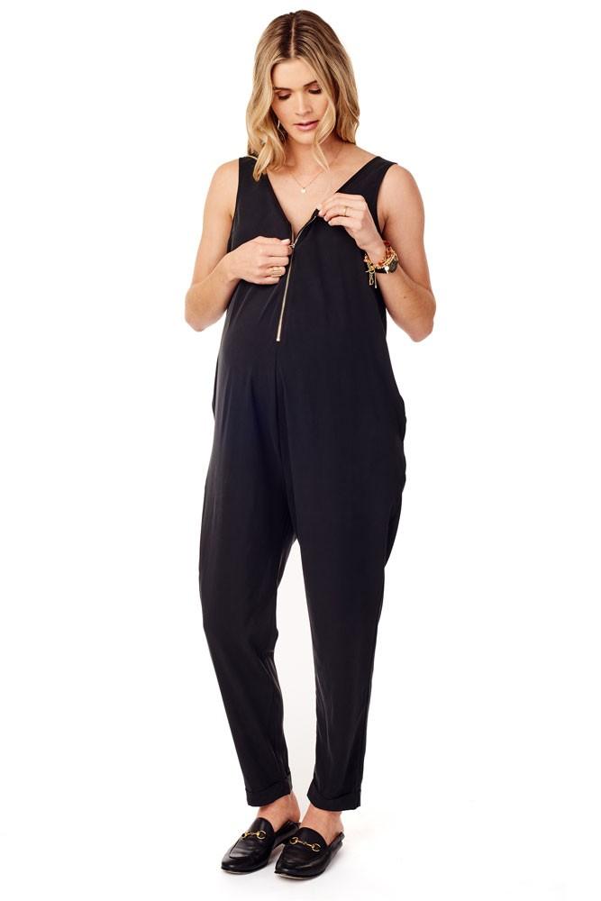 9864bce6216d Ingrid   Isabel Zip Front Maternity   Nursing Jumpsuit in Black