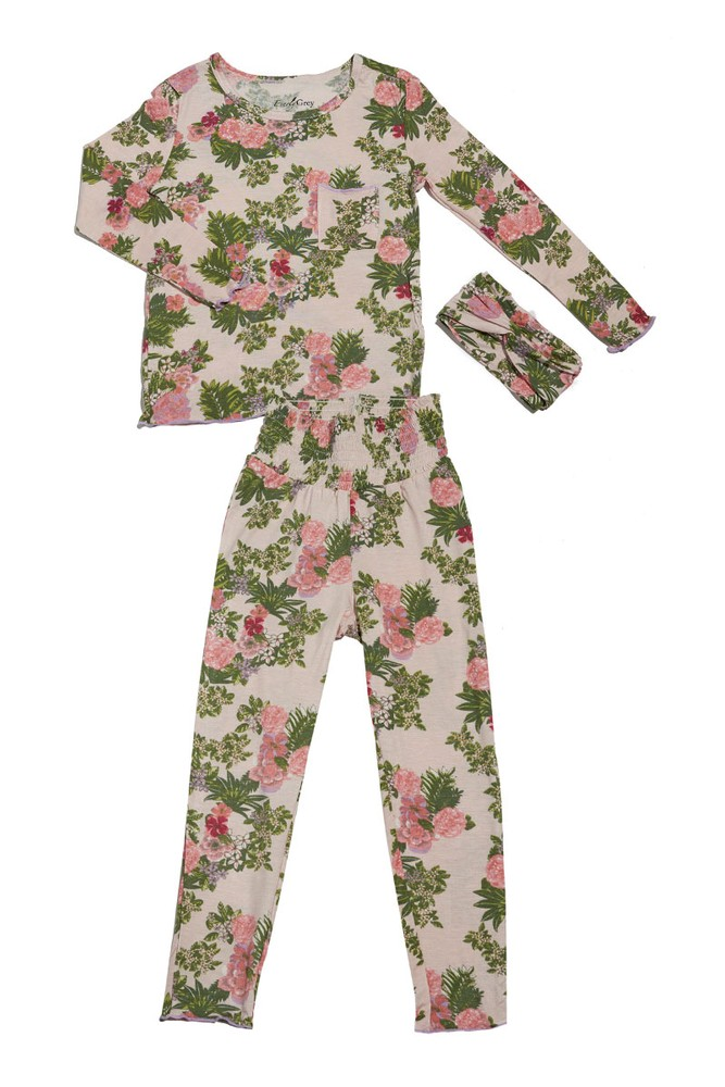 Charlie Kids 3-Piece PJ Pant Set by Everly Grey (Beige Floral)