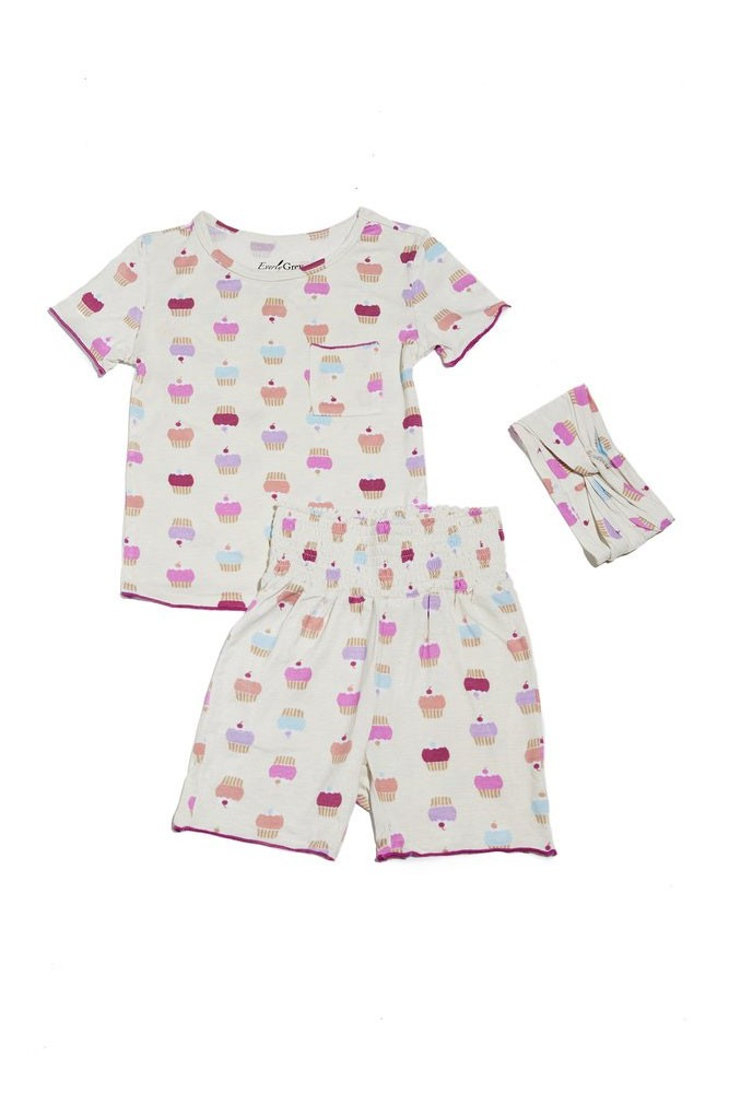 Bella Kids 3-Piece Short PJ Set by Everly Grey (Cupcakes)