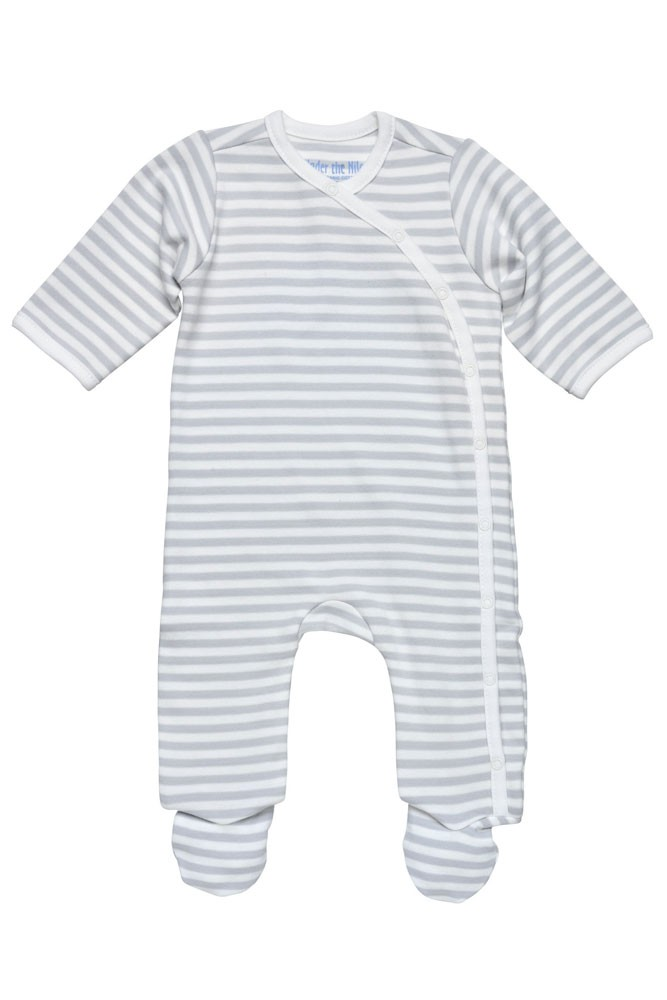 Under the Nile Organic Cotton Printed Side Snap Footie (Safari Grey Stripe)