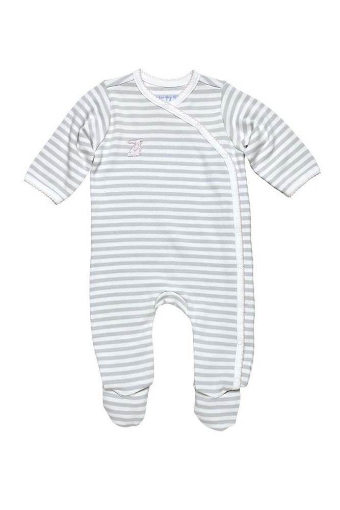 Under the Nile Organic Cotton Printed Side Snap Footie (Grey Stripe)