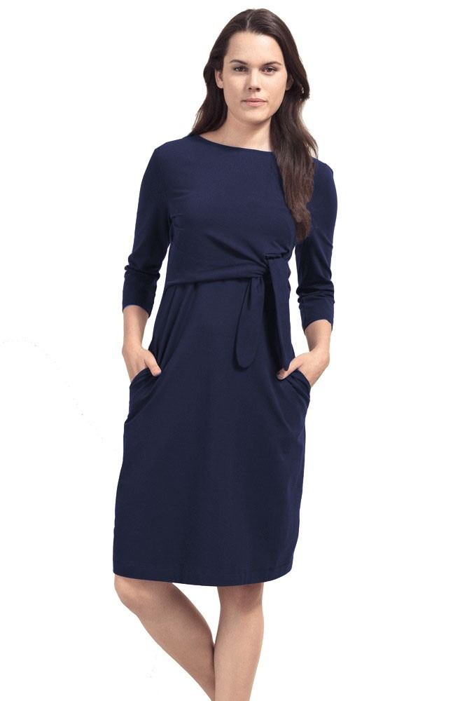 Boob Design Amy Organic Cotton Nursing Dress (Midnight Blue)