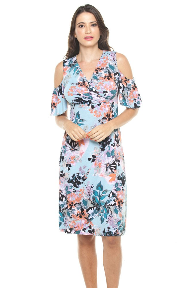 b23abf0ac76 Magnolia Cold Shoulder Nursing Dress in Turquoise Floral by Annee Matthew