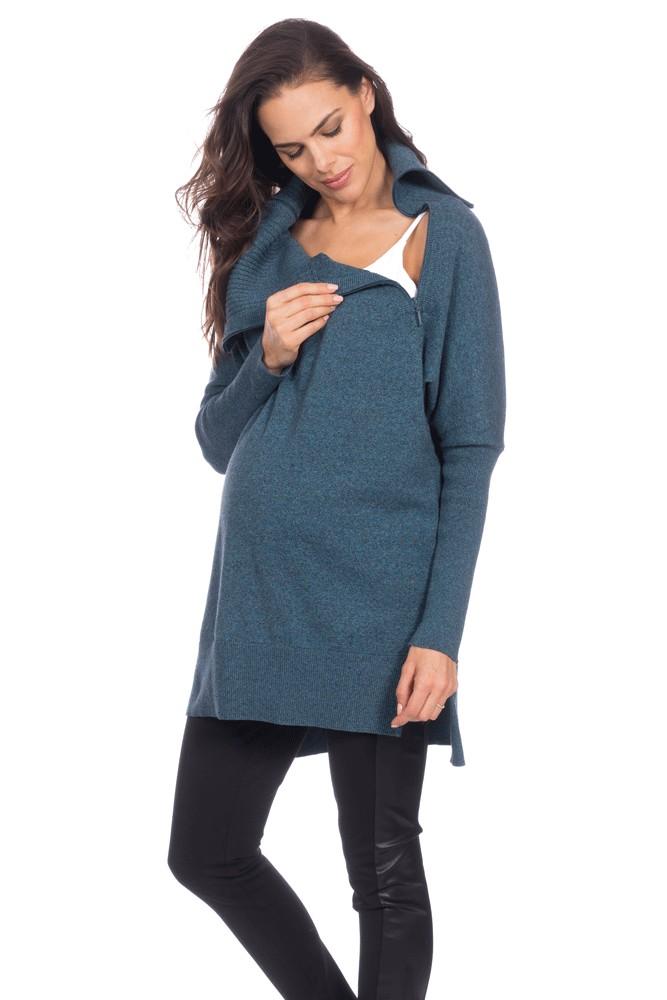 3e6f5231459e2 Seraphine Haven Maternity & Nursing Sweater in Teal