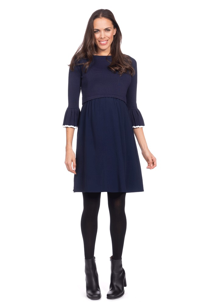 33694c387b345 Seraphine Effie Layered Nursing Dress in Navy/White