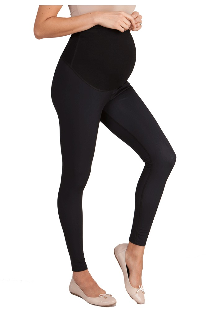 Seraphine Susannah Fleece Lined Over Bump Maternity Leggings (Black)