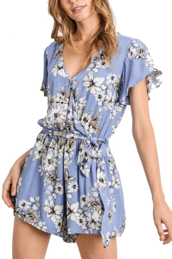 Matilda Floral Short Woven Romper (Denim Blue)