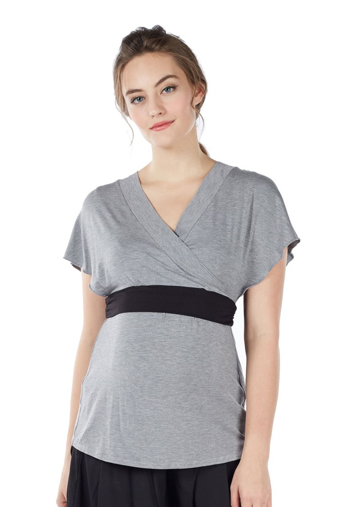 6b0fe4bb134 Obi Short Sleeve Bamboo Nursing Top in Heather Grey by Mothers en Vogue