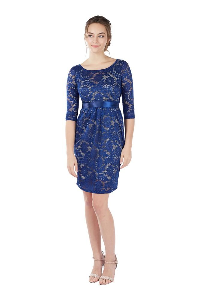 e69dd72b9d0 Contessa 3 4 Sleeve Maternity   Nursing Dress in Sapphire Blue by ...