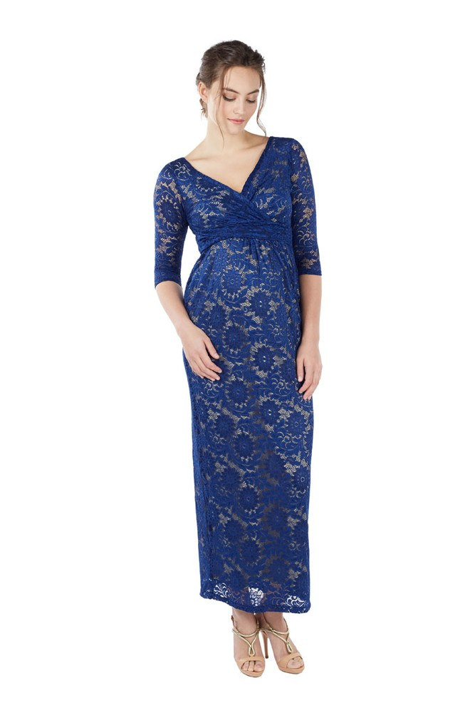 Chantel 3/4 Sleeve Lace Maxi Nursing Dress (Sapphire Blue)