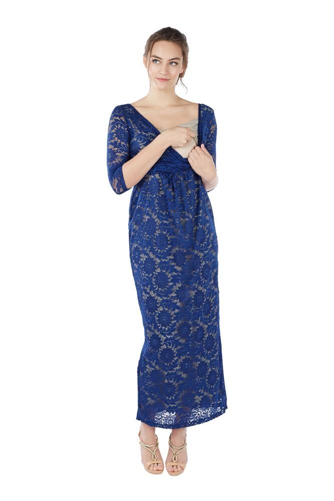 05abb3b58e6 Chantel 3 4 Sleeve Lace Maxi Nursing Dress in Sapphire Blue by Mothers en  Vogue
