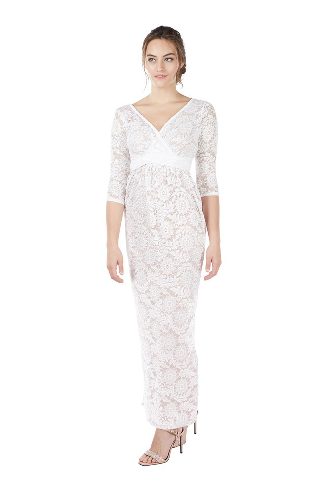 Chantel 3/4 Sleeve Lace Maxi Nursing Dress (White)