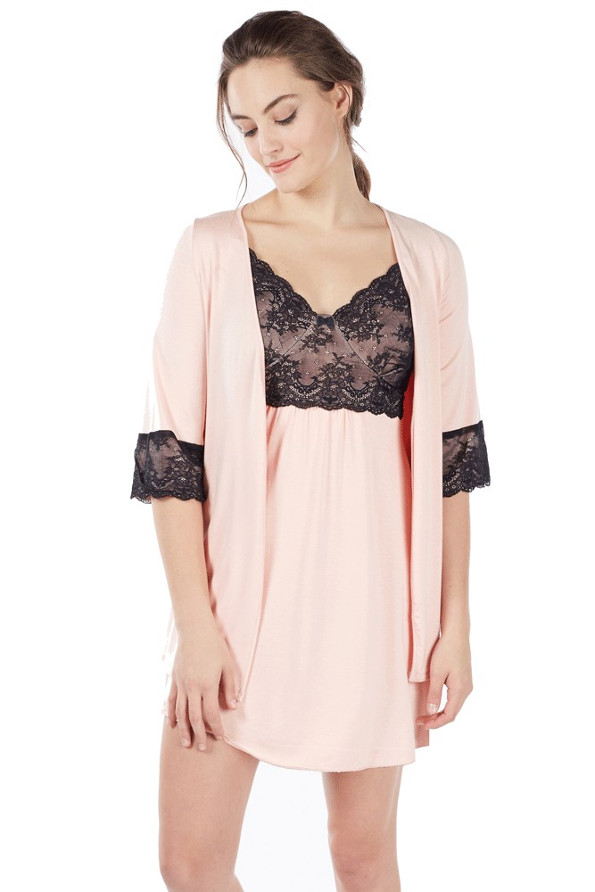 1c6cc275ab166 Mi Amor 2-pc. Maternity & Nursing Chemise with Robe in Blush Pink by ...