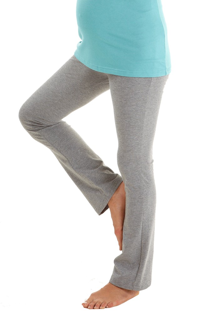 Foldover Cotton Yoga Pants In Heather Grey By Mothers En Vogue