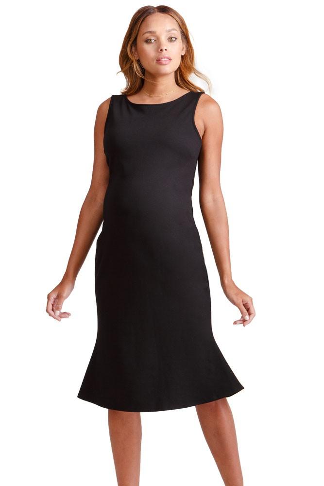 1d33f765ba9 Ingrid   Isabel Tulip Hem Ponte Maternity Dress in Jet Black