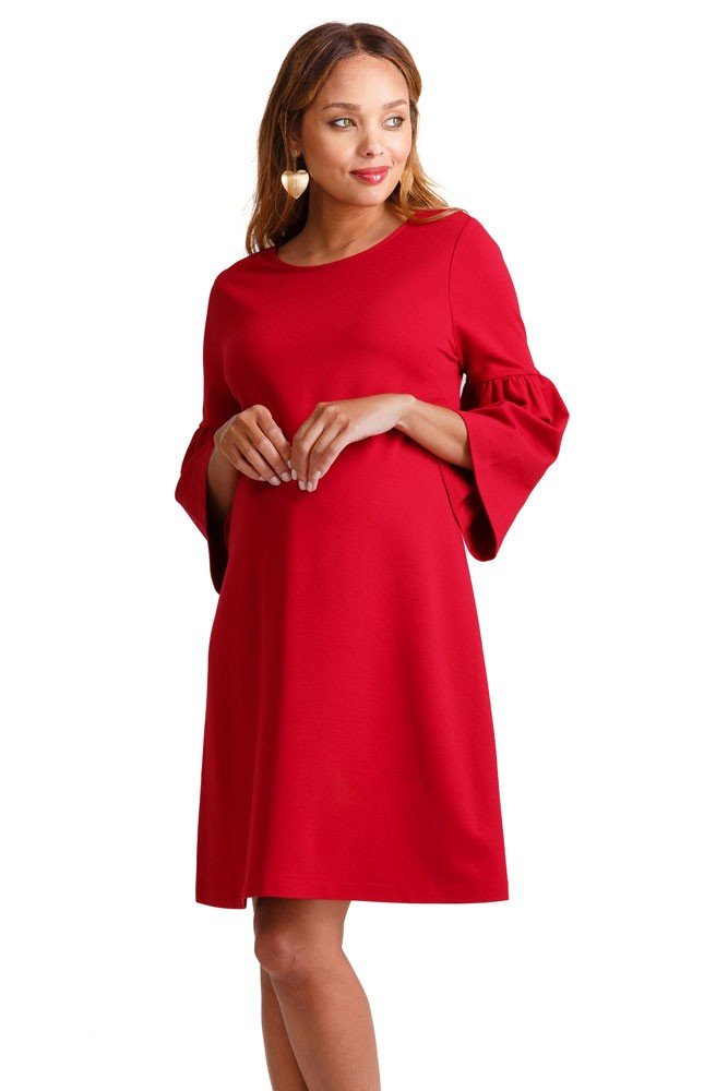 80034fa880c8e Ingrid & Isabel Ponte Bell Sleeve Maternity Dress in Bright Crimson