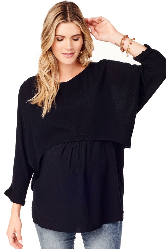 a850a0a67eee8 Ingrid & Isabel Double Layer Woven Maternity & Nursing Top in Jet Black