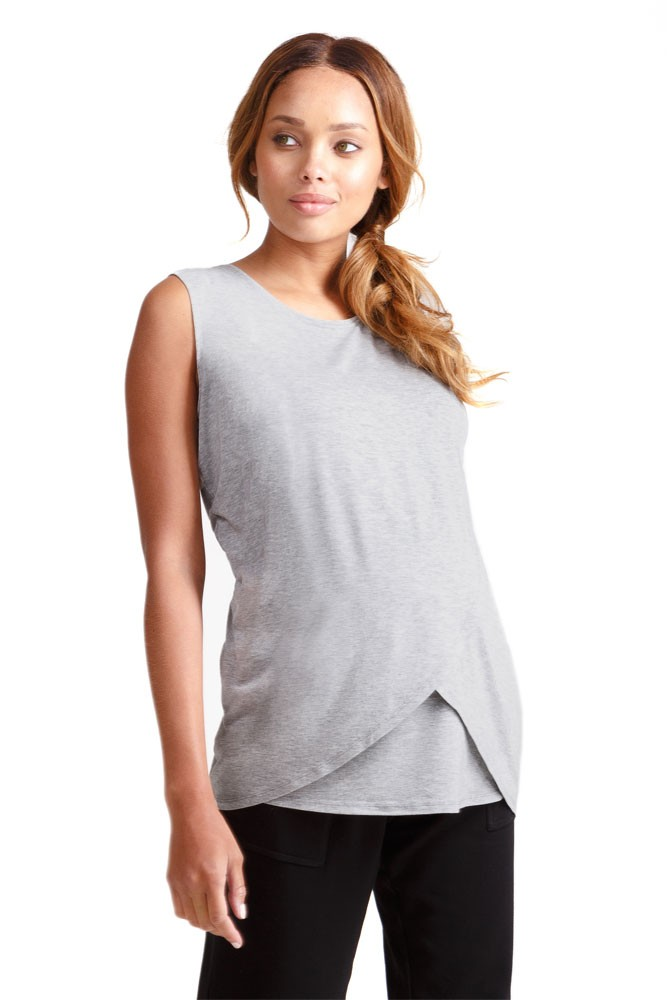 Ingrid & Isabel Sleeveless Cross Front Nursing Tank (Spacedye Grey)