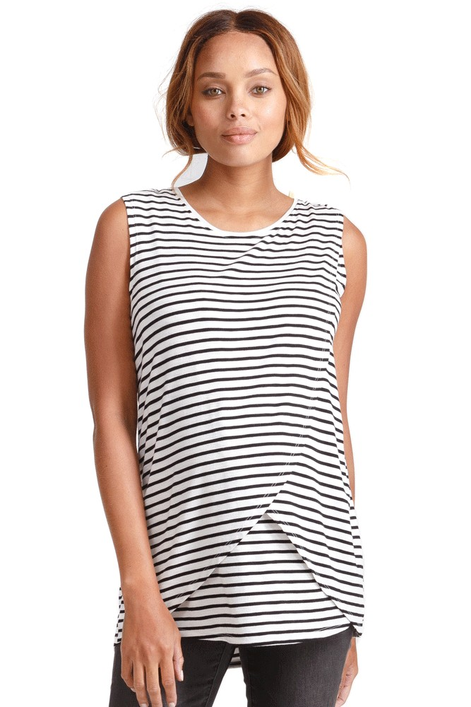 382aca49536 Ingrid & Isabel Sleeveless Cross Front Nursing Tank (Black & White Stripe)