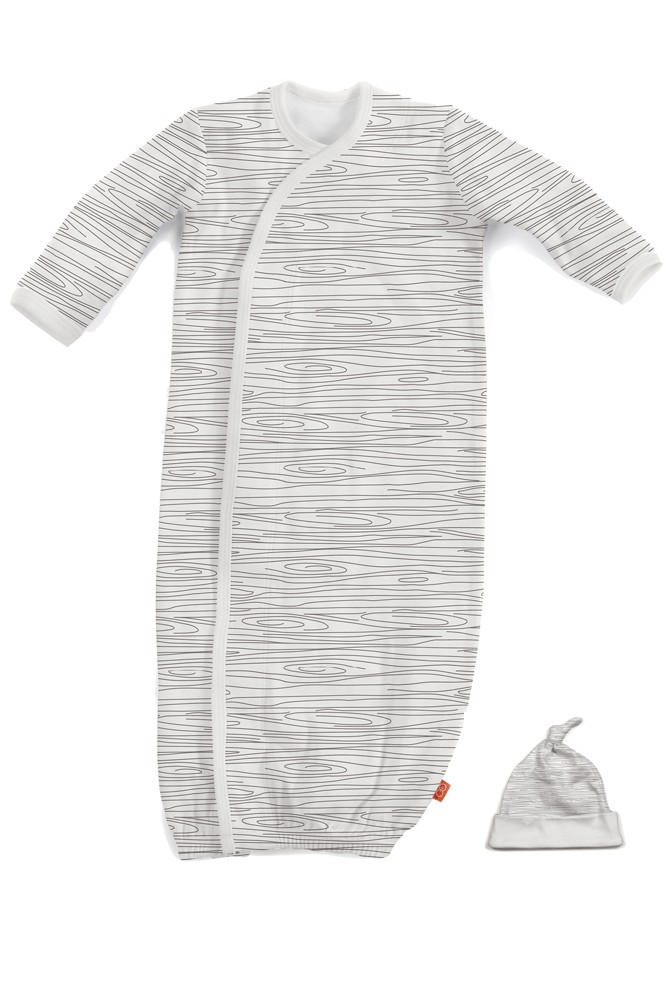 Magnificent Baby Magnetic Me™ Organic Cotton Gown & Hat Set (Birch)