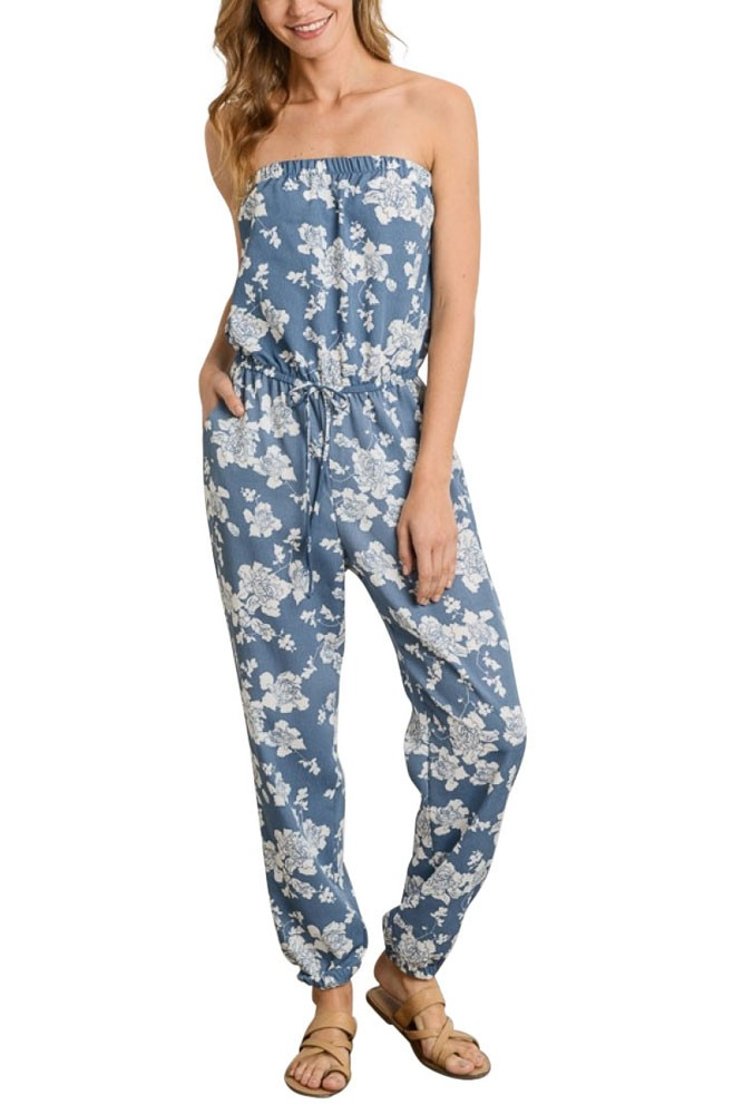 Caroline Nursing Friendly Strapless Jumpsuit (Blue Floral)
