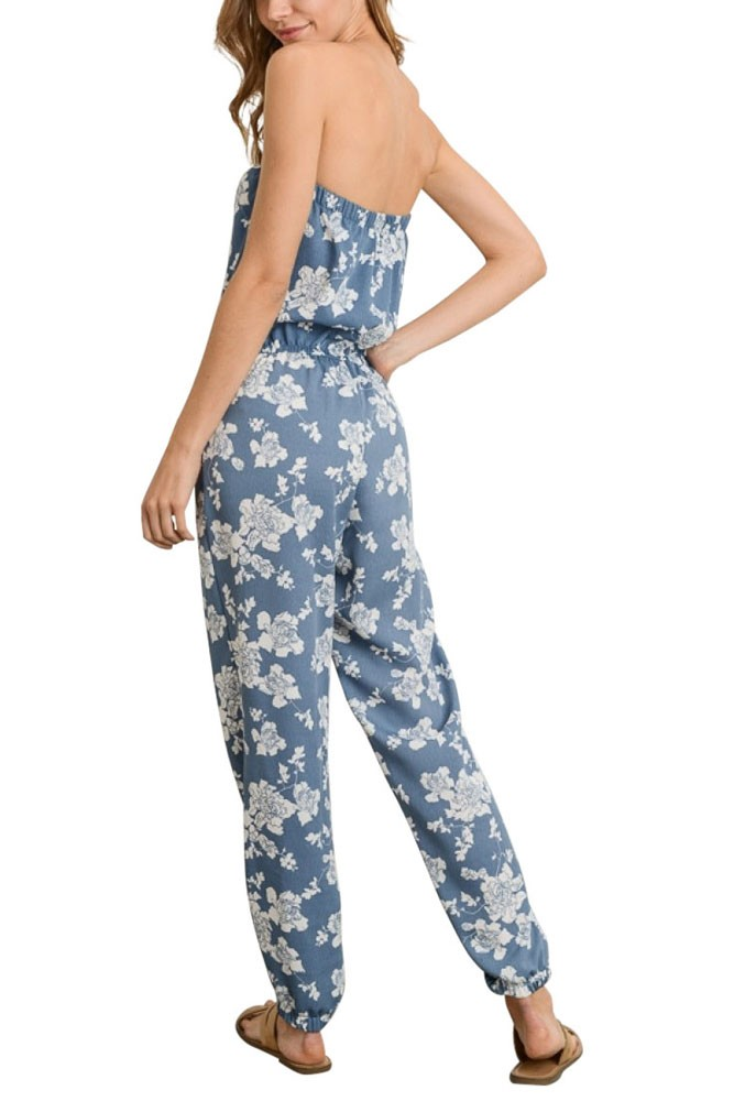 1476be102a6 Caroline Nursing Friendly Strapless Jumpsuit in Blue Floral by Elly ...