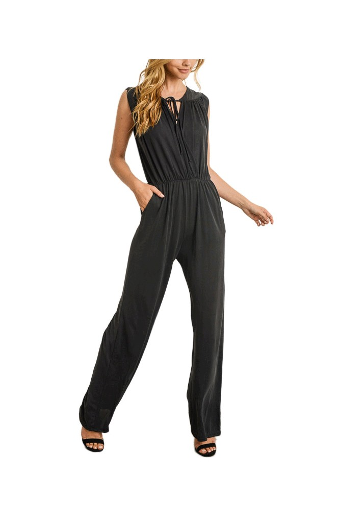 Riley Overlapping Bodice Nursing Jumpsuit (Black)