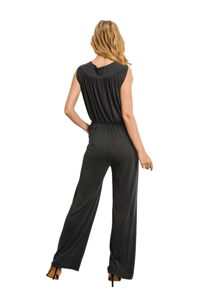 b5d3df44bc1189 Riley Overlapping Bodice Jumpsuit in Black by Elly Kiara