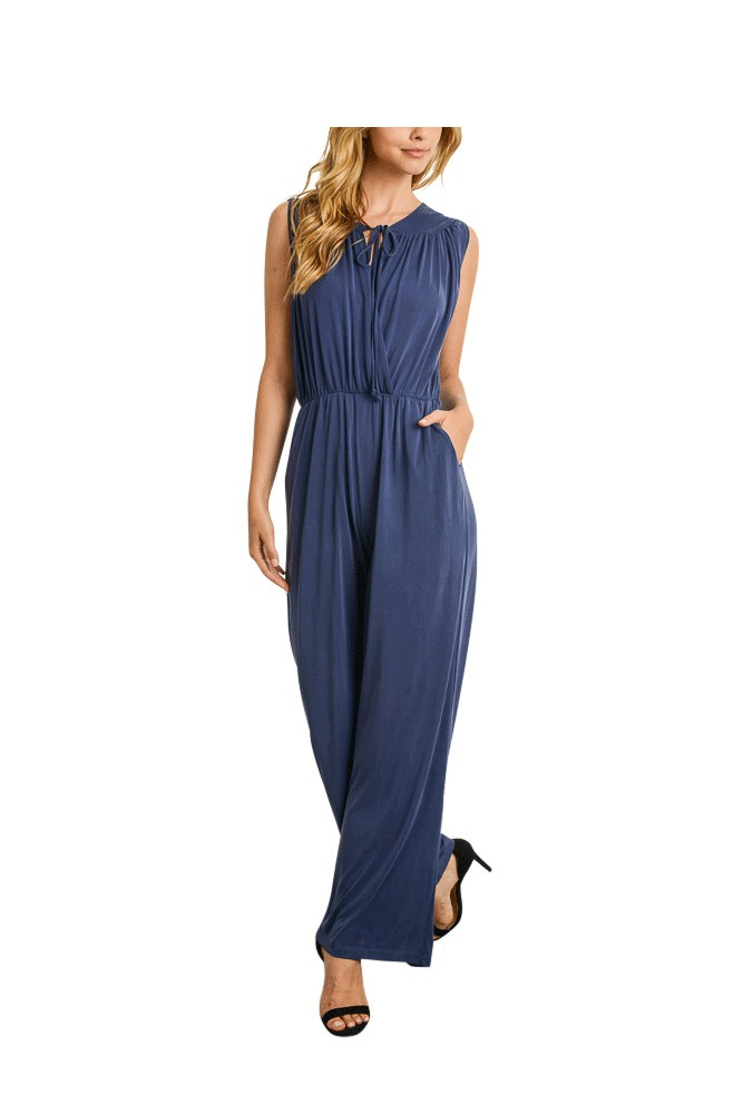 Riley Overlapping Bodice Jumpsuit (Navy)