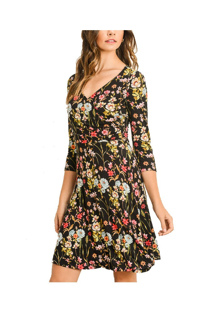 Abby Faux Wrap Front Dress (Black Floral)