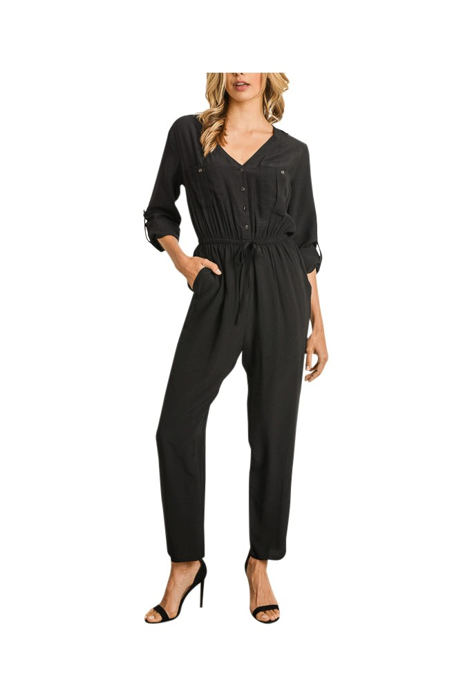 Diana Button Front Woven Jumpsuit (Black)