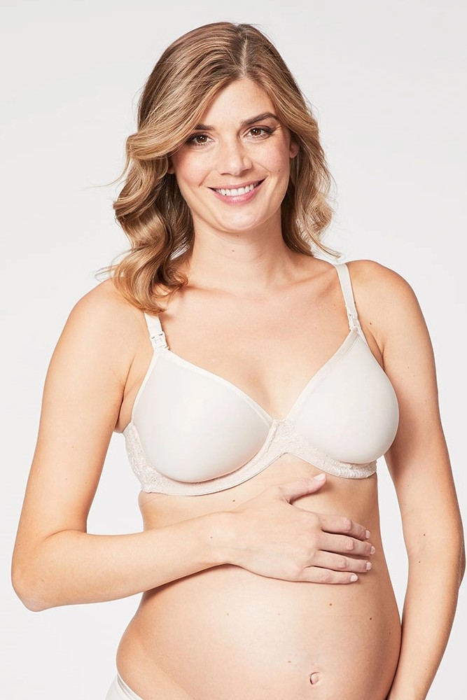 Cake Lingerie Waffles 3D Spacer Contour Nursing Bra with Flexible Wire (Beige)