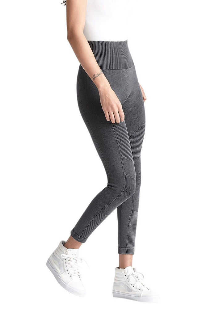 Yummie Washed Moto Seamless Control Skimmer Legging (Black)
