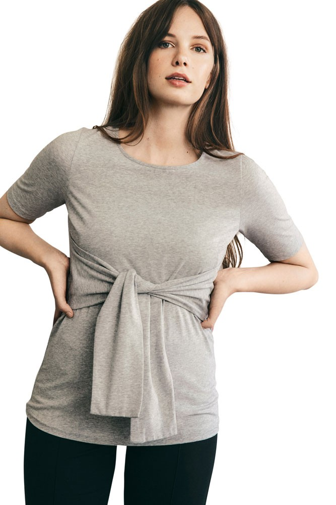 Haley Organic Short Sleeve Maternity & Nursing Top (Grey Melange)