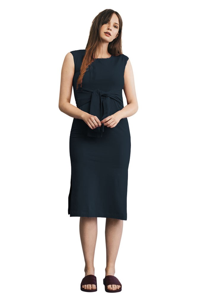 Haley Sleeveless Organic Maternity & Nursing Dress (Midnight Blue)