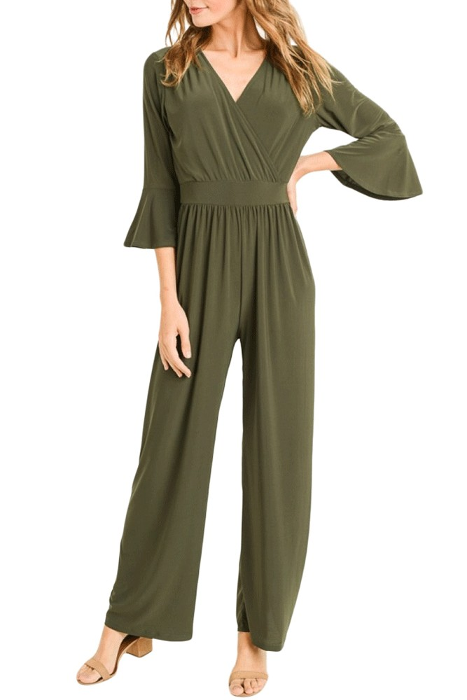 Krista Bell Sleeve Wrap Front Jumpsuit (Olive)