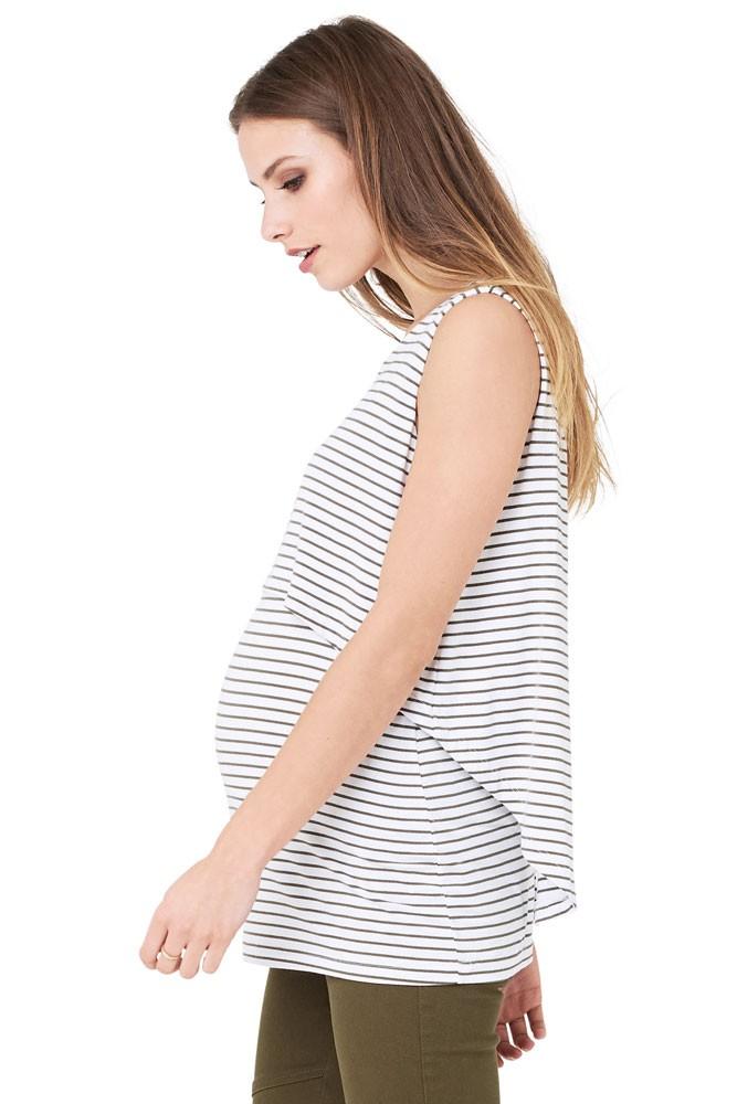 2e0d31d5ae9 Stripe Swing Back Maternity   Nursing Tank in White Khaki by Ripe ...