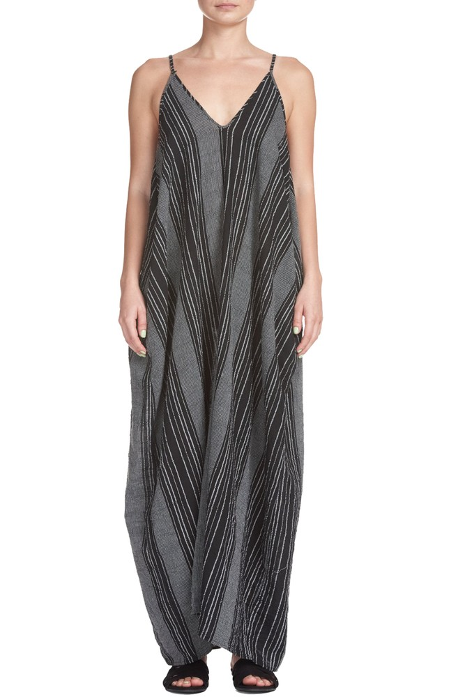 Celia Strappy Maxi Dress with Pockets (Black/White)
