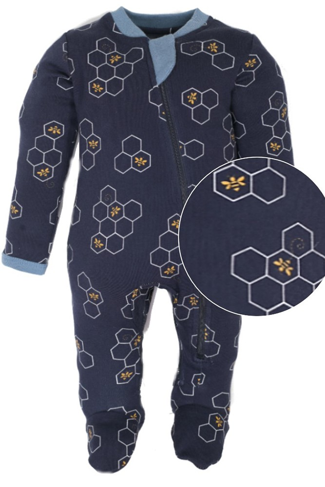 ZIPPYJAMZ Organic Baby Footed PJs w//Inseam Zipper for Quicker and Easier Diaper Changes