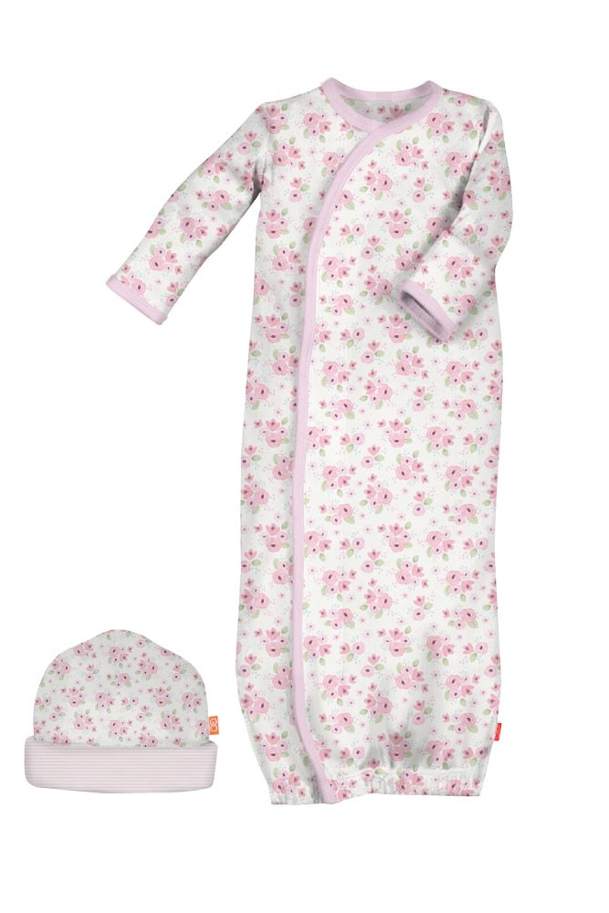 Magnificent Baby Magnetic Me™ Kensington Floral Cotton Baby Gown & Hat Set (Kensington Floral)